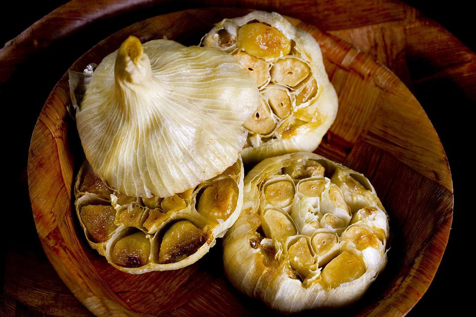 Heads of roasted garlic