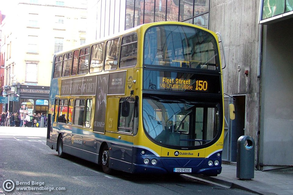 Dublin Bus waiting for passengers in the inner city ... get a seat on the upper deck!