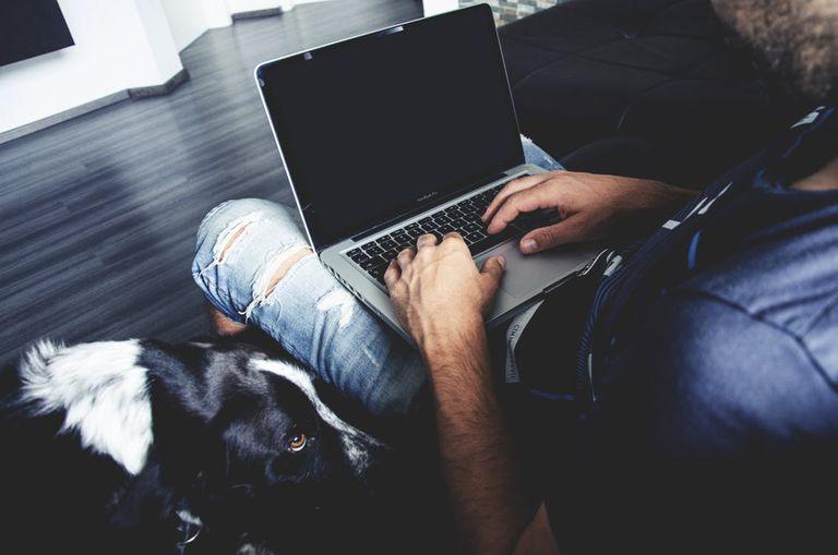 man typing on laptop next to dog