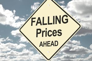 falling prices ahead sign in front of clouds