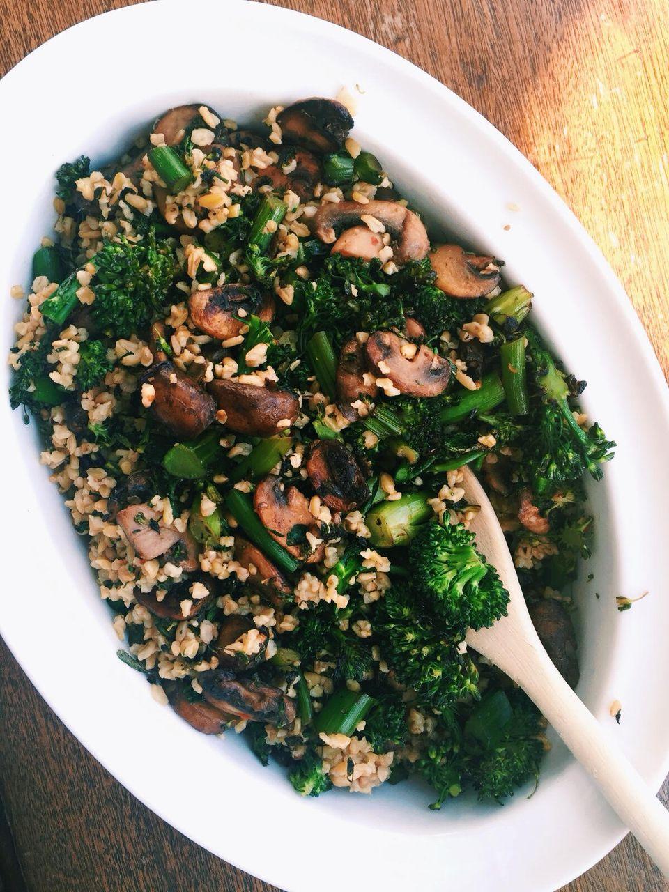 Sautéed Mushroom, Broccoli Rabe and Freekeh Salad