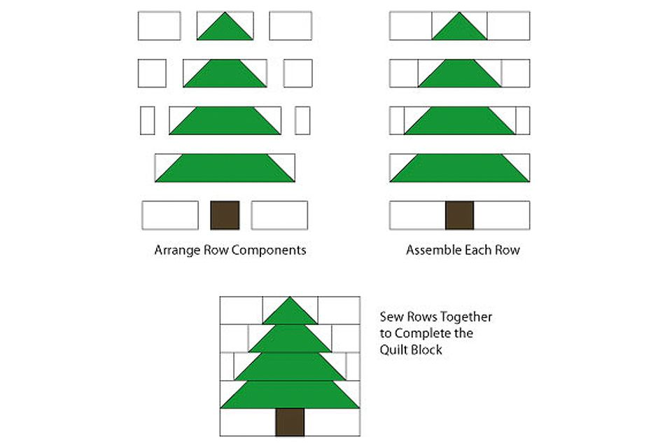 Easy Patchwork Christmas Tree Quilt Block Pattern