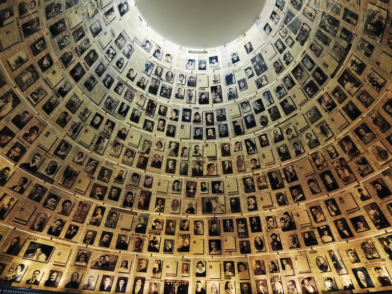 Pictures of Holocaust victims displayed at Yad Vashem.