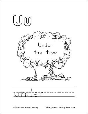 Under Coloring Page Letter U 1