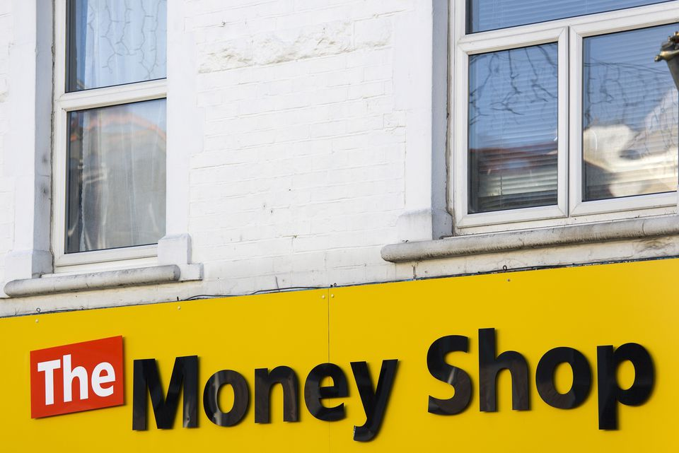 The Money Shop pawnbroker and payday loan shop sign.