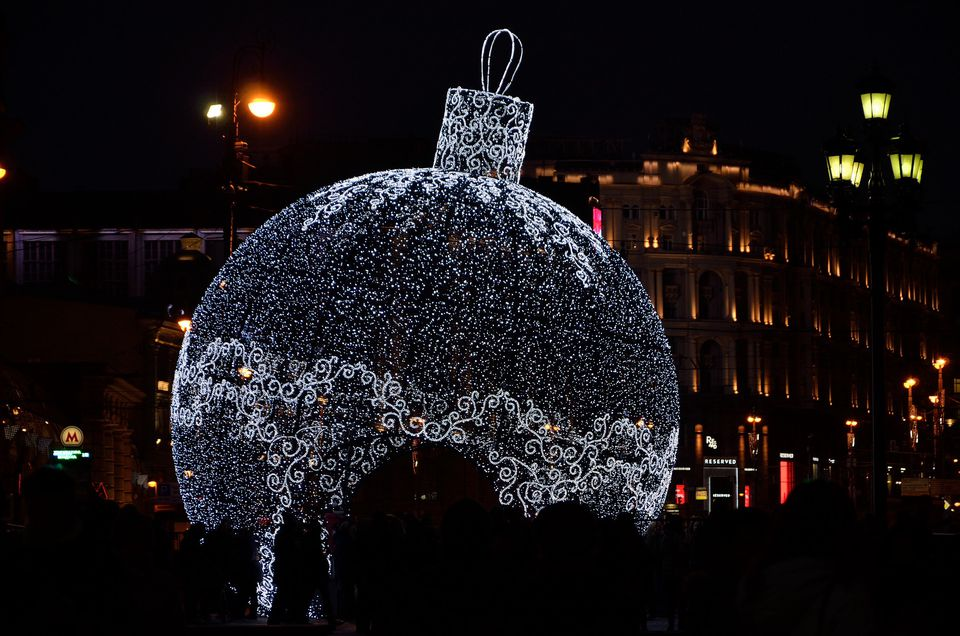 A giant Christmas ornament sculpture at Moscow's Winter Festival.