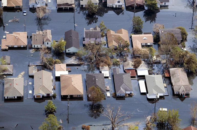 An aerial view of flooded houses in New Orleans after Hurricane Katrina.