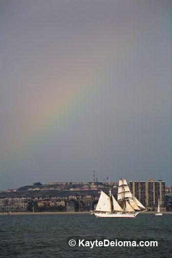 Rainbow over a Tall Ship