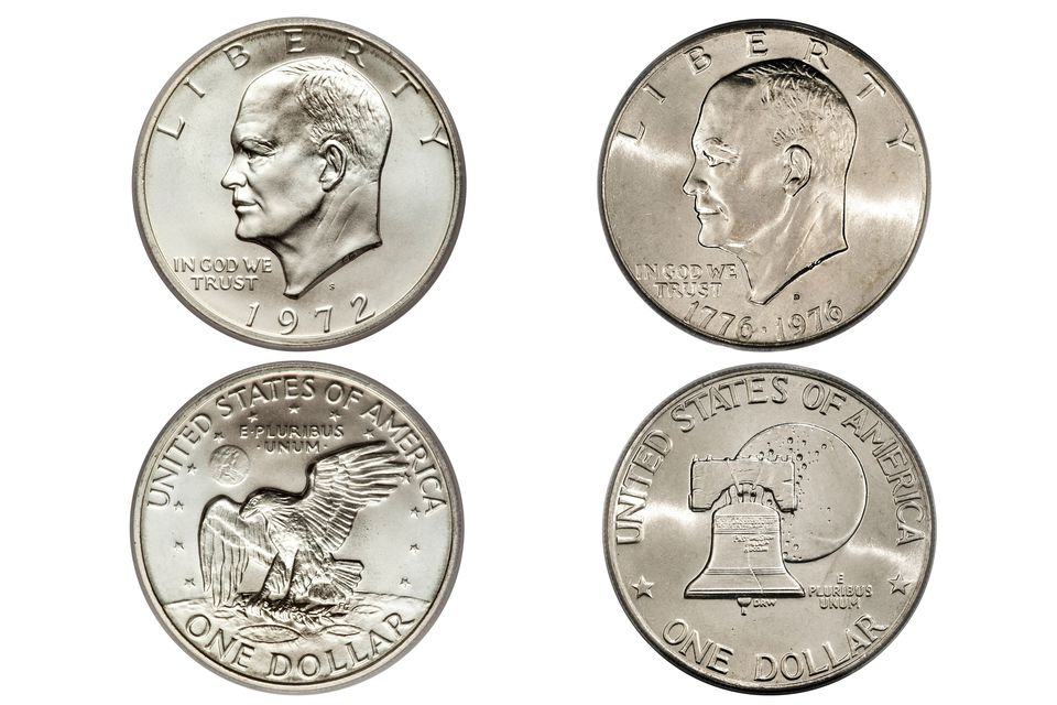 Eisenhower Dollars Both Obverse and Reverse; Regular Issue Reverse and Bicentennial Obverse and Reverse.