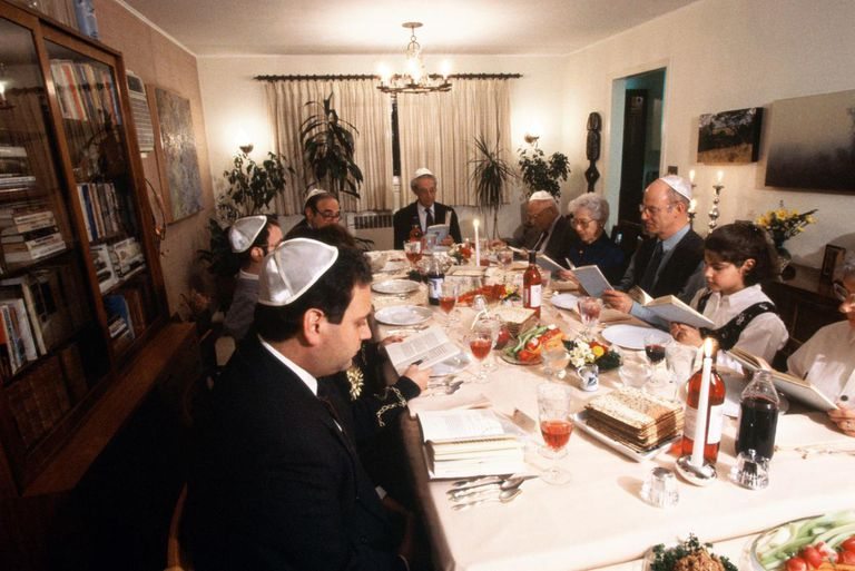 Jewish family praying before Seder dinner during Passover festival
