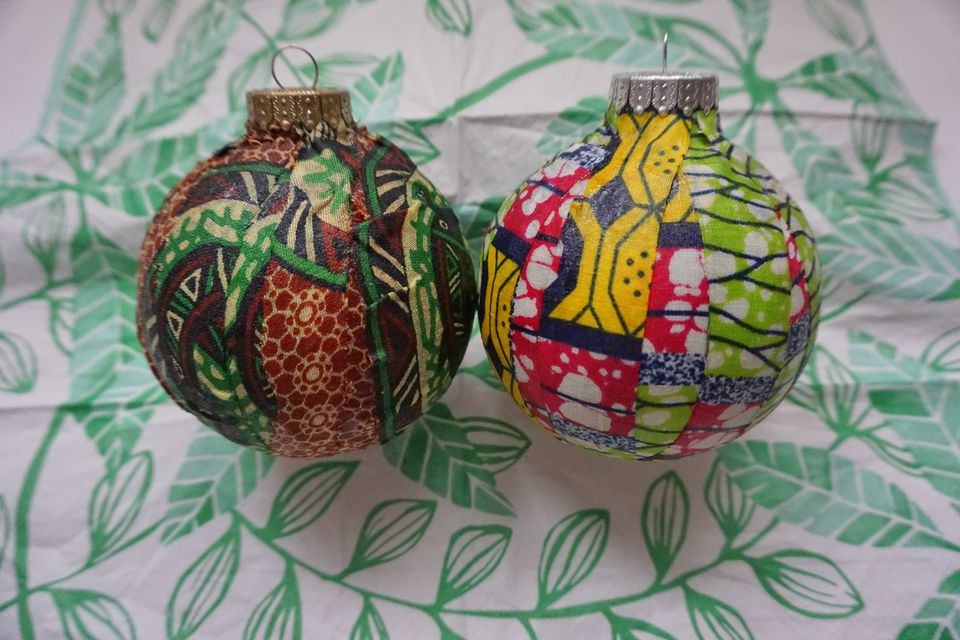 DIY Christmas ornaments decorated in African wax prints by Krystle DeSantos