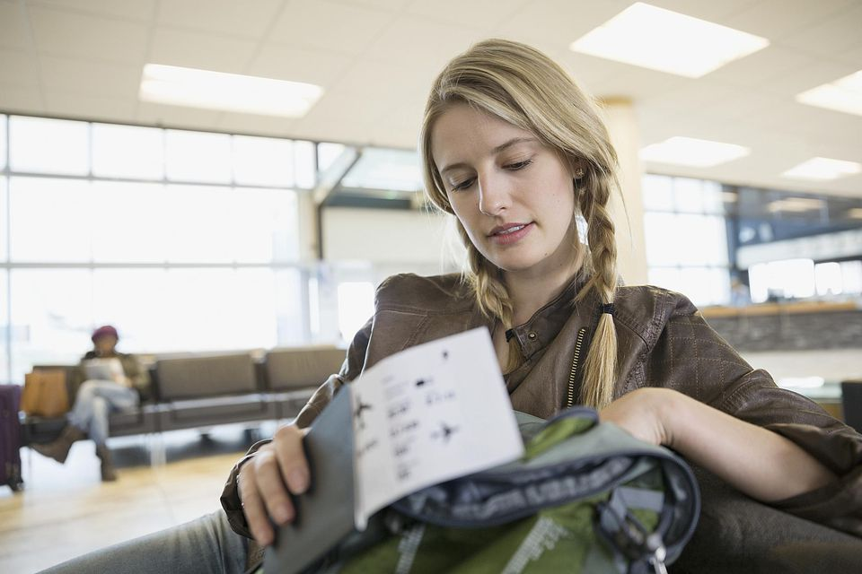 Student with airline ticket