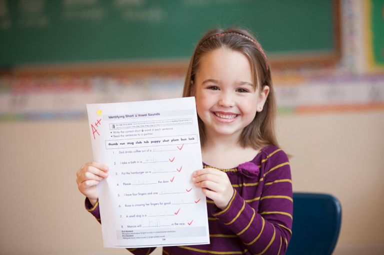 Girl holding up A++ Assignment