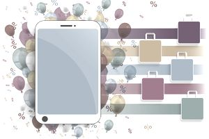 Smartphone with colorful balloons, shopping bags and percentage signs, illustration
