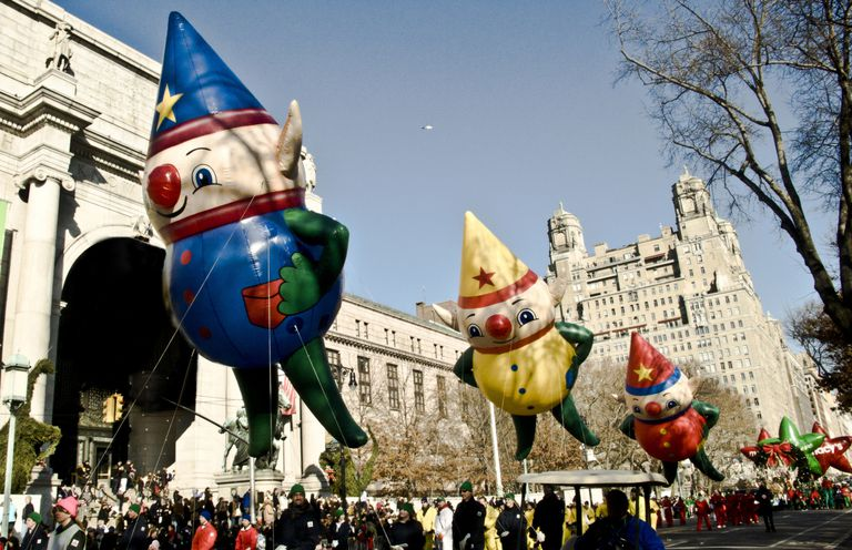 Three elf balloons in Macy's Thanksgiving Parade