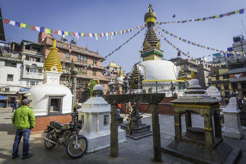 Kathmandu prayer flags at Kathesimbhu stupa Buddhist shrine Thamel Nepal