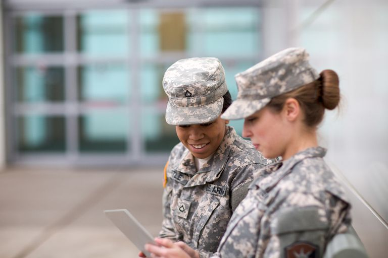 Two Military Girls Looking at Tablet