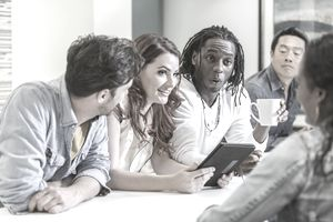Group of diverse multi-racial business people meeting
