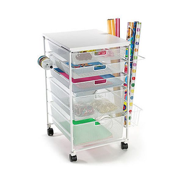 Container Store elfa Mesh Gift Wrap Cart White