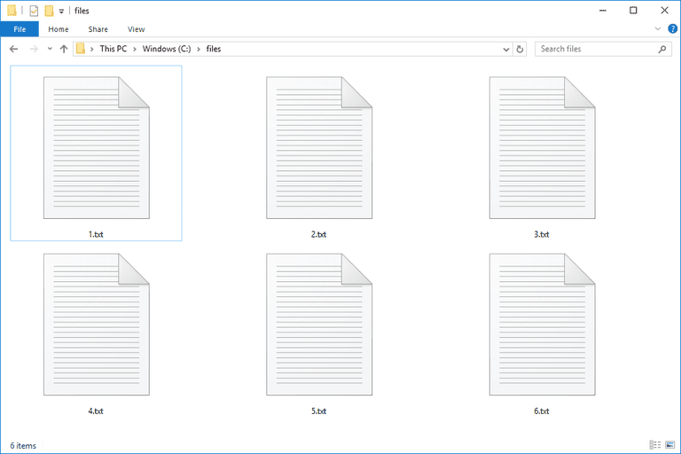 Screenshot of several text files in Windows 10
