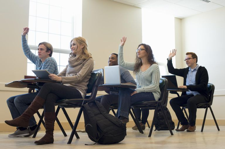Students raising their hands in class