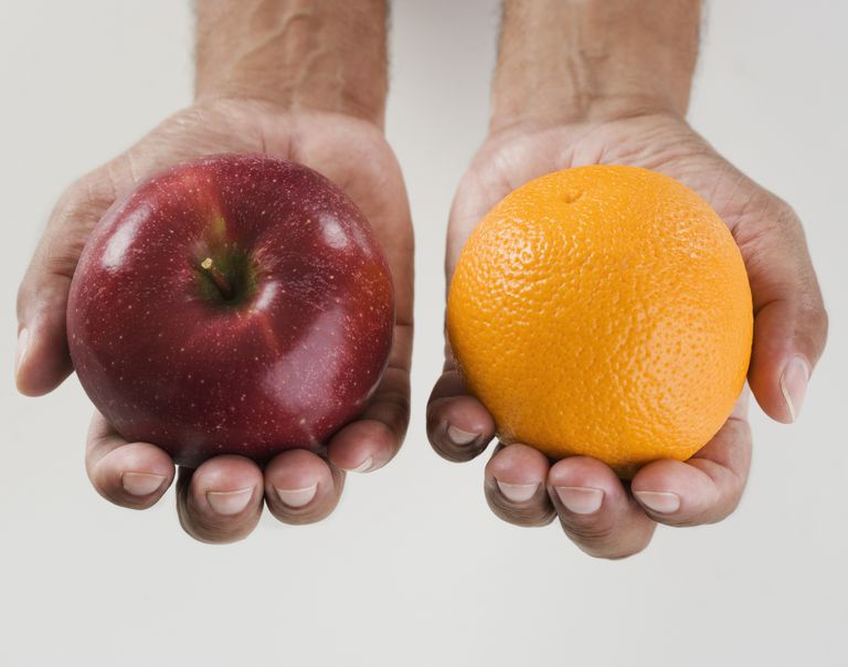 Image of an apple and an orange.