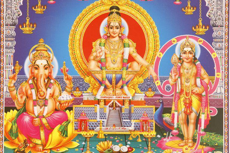 Picture of Hindu gods Ganesh, Ayappa and Subramania, India, Asia