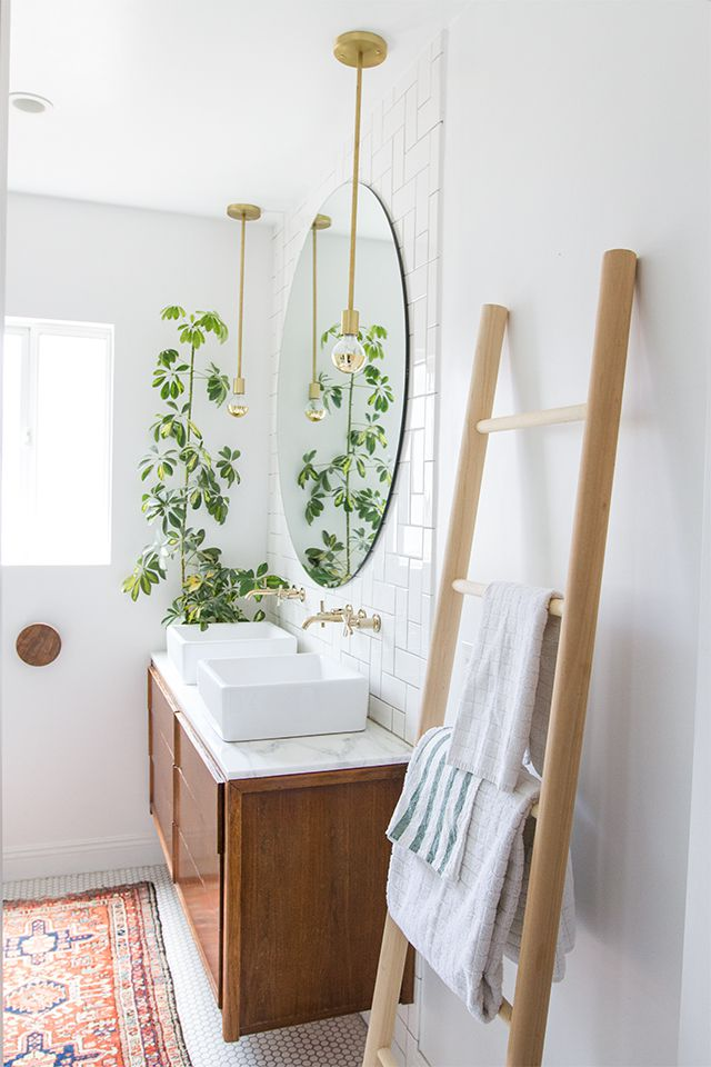 ladder for hanging towels in the bathroom