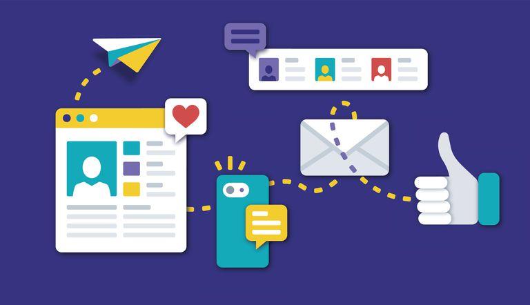 Graphics of social media communication tools.