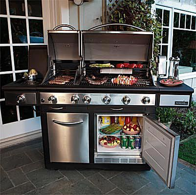 NexGrill Dual Head 4-Burner Grill with Refrigerator Model #720-0617