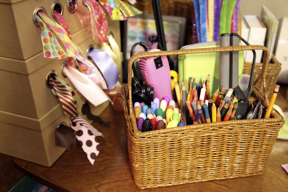 crafting supplies on a desk