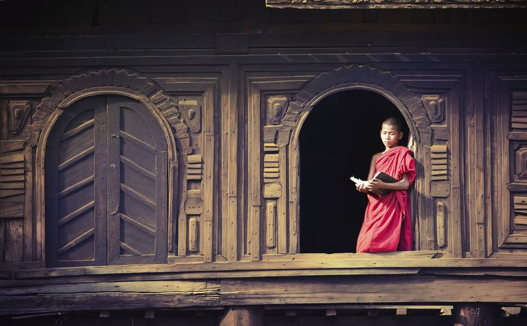 Young Monk Reading, Burma