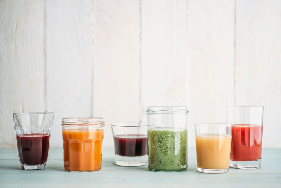 Different juices in glasses