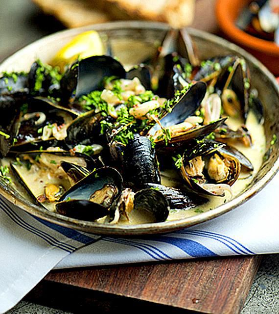 Steamed Mussels in a Thai Basil-Coconut Sauce