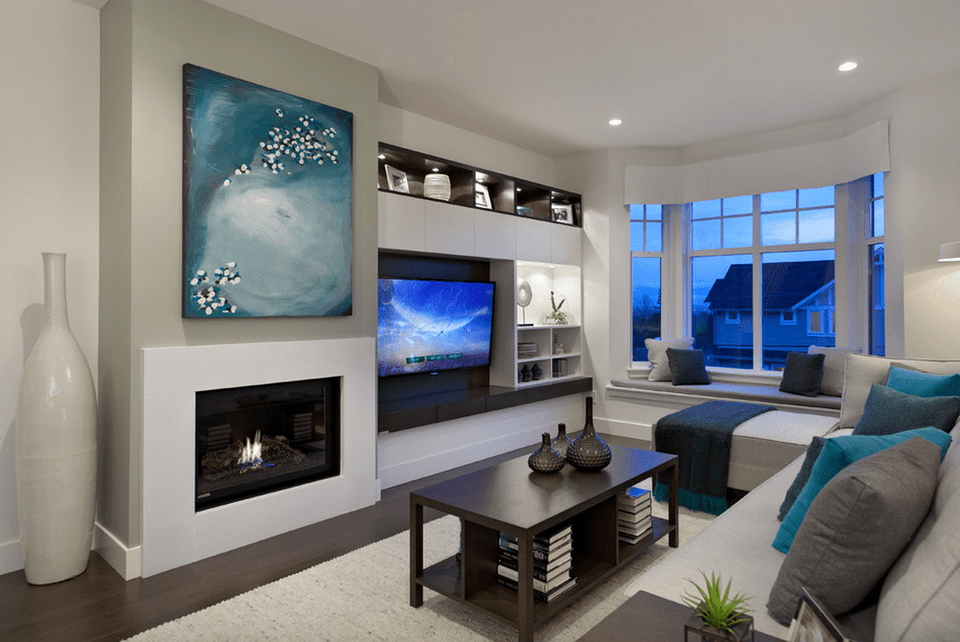 Contemporary Living Room With Custom Built Ins
