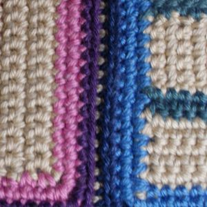 Close-Up Photo of the Slip Stitch Join, Viewed From the Right Side of the Work