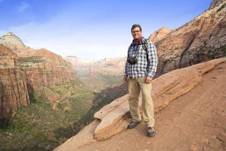 Host Kirk Johnson at the Grand Canyon, in NOVA's Making North America