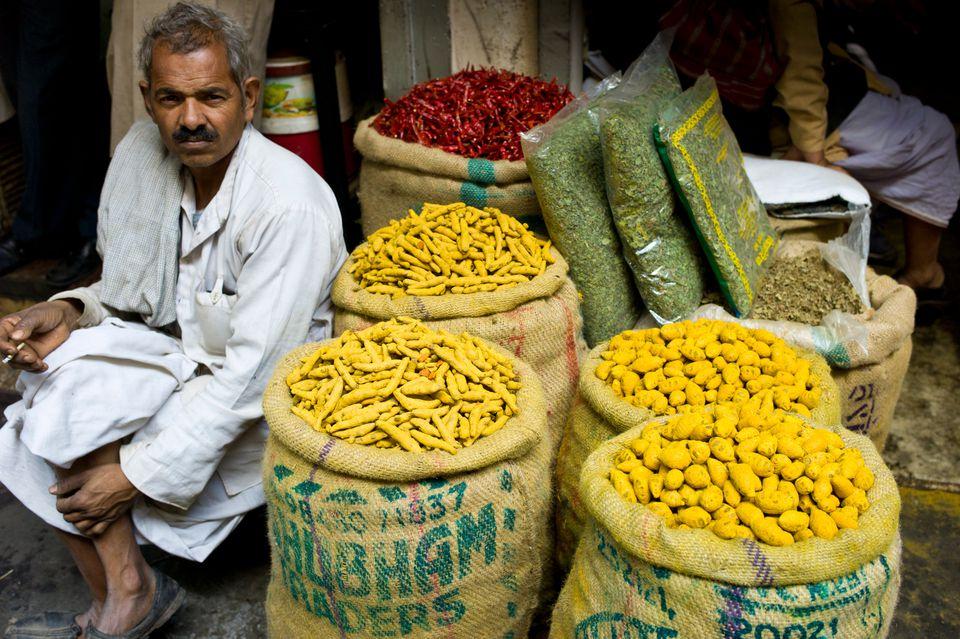 Spice seller at Khari Baoli.