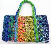 Find Free Tutorials for Crocheting Rag Bags Like This One.