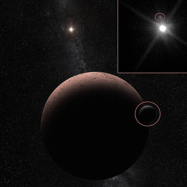 Makemake and its moon as seen by HST