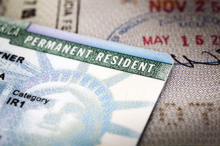 Fotografía de una Tarjeta de residencia, también conocida como green card