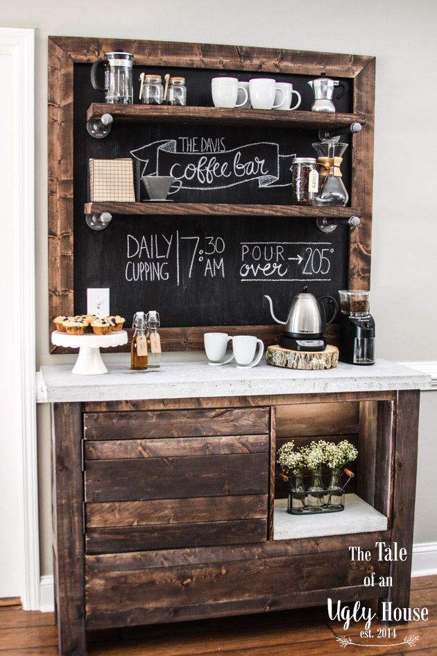 diy wood bar. A wooden coffee bar  9 Free Bar Plans To Help You Build One At Home