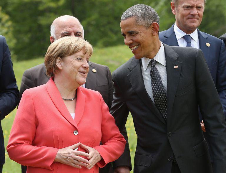 G8 members Angela Merkel and Barack Obama