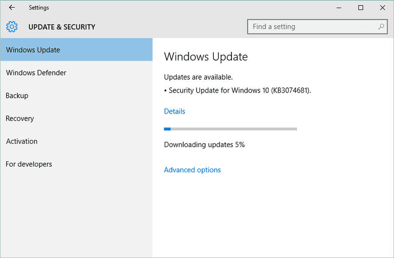 Screenshot of Windows Update downloading a security update in Windows 10
