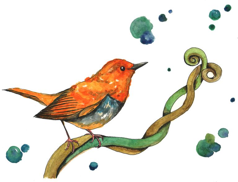 watercolor painting of an orange bird