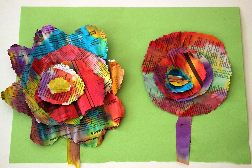 Completed newspaper flower craft