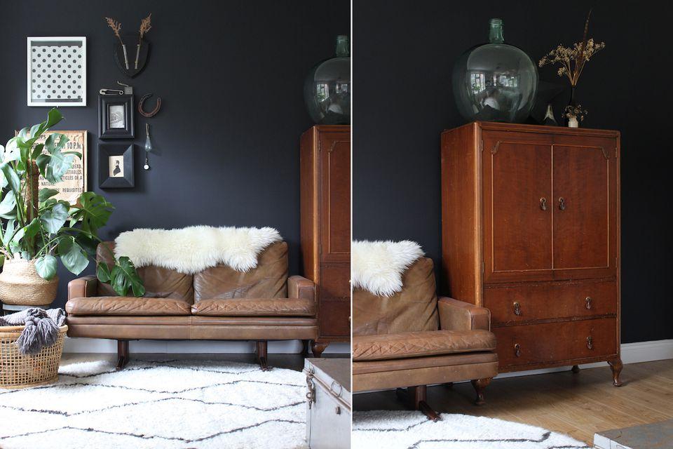 DIY black living room