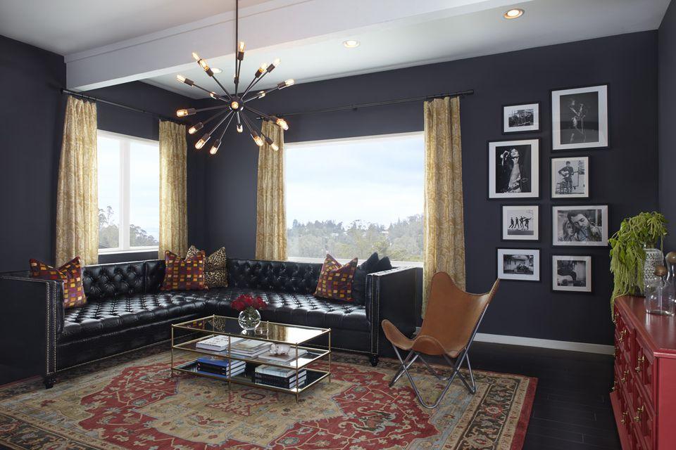 blue black living room walls