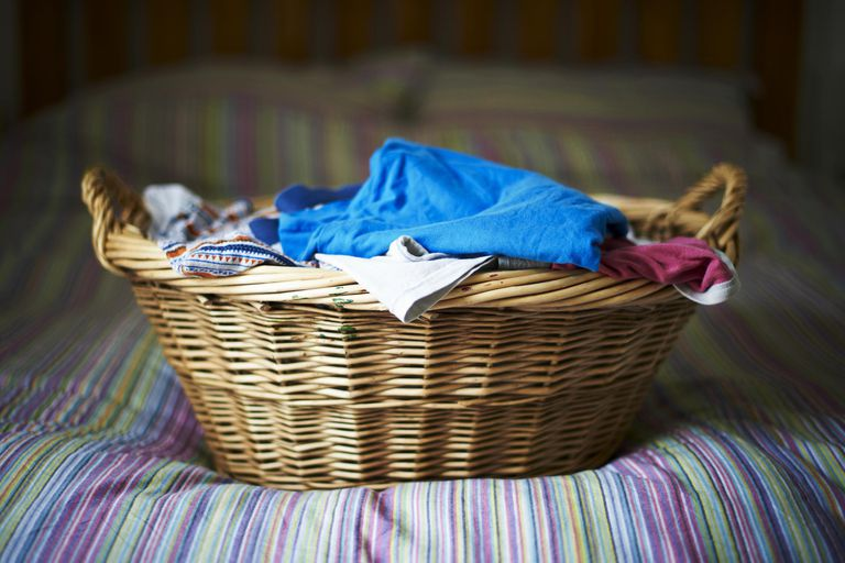 Filled laundry basket