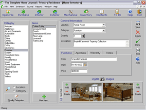 The Complete Home Journal is true to its name, being very complete home inventory software.